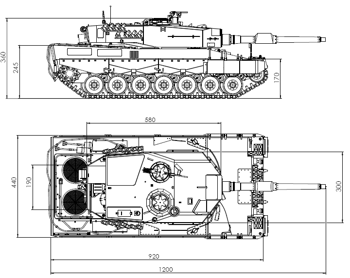 Construction plan tank leopard 2 a4 1 8 store systems for Cistern plans